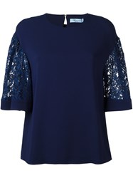 Blumarine Lace Sleeve T Shirt Blue