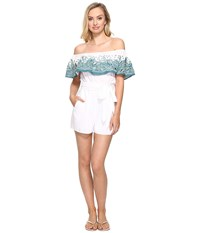 Mara Hoffman Embroidered Off The Shoulder Romper White Sage Women's Jumpsuit And Rompers One Piece Gray