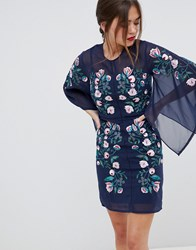 Frock And Frill Kimono Sleeve Shift Dress With Embroidered Detail Navy