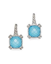 Judith Ripka Cushion Heart Prong Earrings With White Sapphire And Turquoise Doublets Blue Silver