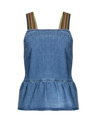 Mih Jeans Tennant Peplum Hem Denim Cami Top Mid Denim