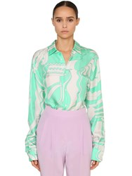 Emilio Pucci Printed Silk Twill Shirt Green White