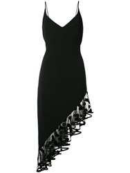 David Koma Polka Dot Flock Asymmetric Dress Black