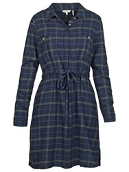 Fat Face Check Shirt Dress Navy