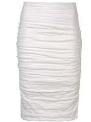 Nicole Miller Sandy Ruched Skirt White