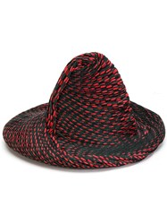 Issey Miyake Contrast Pleated Detail Hat Cotton Polyester Polyurethane