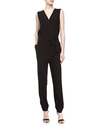 Romeo And Juliet Couture Surplice Tie Front Crepe Jumpsuit Black