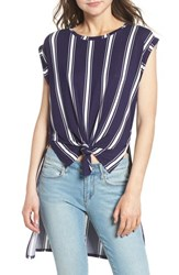 Love Fire High Low Knot Front Top Navy White Stripe