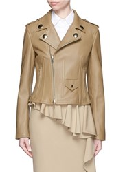 Givenchy Peplum Nappa Leather Jacket Neutral