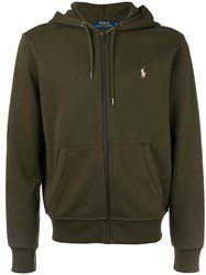 Polo Ralph Lauren Zip Front Hoodie Men Cotton Polyester M Green