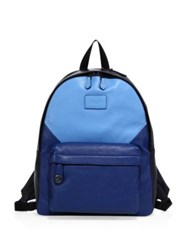 Coach Pebbled Leather Patch Backpack Blue