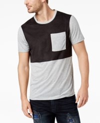 Guess Men's Colorblocked Faux Suede Panel T Shirt Heather Grey