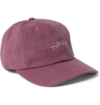 Stussy Embroidered Cotton Ripstop Baseball Cap Pink