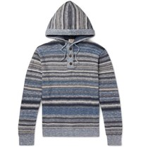 Faherty Baja Slim Fit Striped Knitted Hoodie Blue