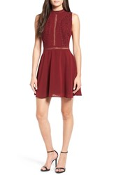 Storee Women's Crochet Lace Fit And Flare Dress Burgundy