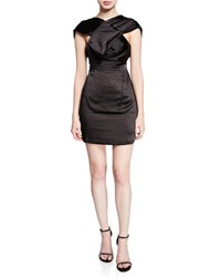 Fame And Partners The Lincoln High Neck Cap Sleeve Mini Satin Dress Black