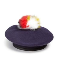 Eugenia Kim Hadley Fox Fur Wool And Leather Beret Navy Multi