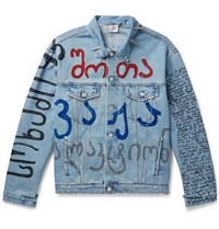 Vetements Oversized Embellished Printed Denim Jacket Light Blue
