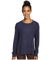 Alo Yoga Glimpse Long Sleeve Top Rich Navy Heather Women's Clothing