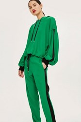 Topshop Satin Sports Hoodie By Boutique Green
