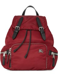 Burberry The Medium Rucksack In Nylon And Leather Red