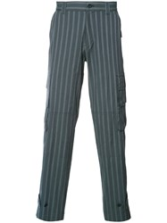 Undercover Cargo Pocket Striped Trousers Blue