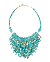 Nakamol Tapered Fringe Bib Necklace Turquoise
