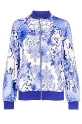 Quiz Blue Flower Print Bomber Jacket
