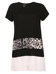 Izabel London Leopard Print Panel Top Black