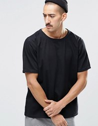 Weekday Zephyr Denim T Shirt Boxy Fit Wide Neck In Black Black