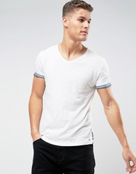 Tom Tailor T Shirt With Scoop Neck And Print Hem 2132 White