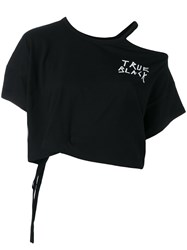 Ann Demeulemeester 'True Black' Cropped T Shirt Women Cotton 40