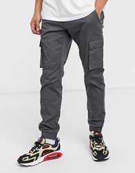 Only And Sons Slim Fit Cargo With Cuffed Bottom In Gray