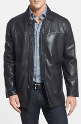 Missani Le Collezioni Classic Fit Reversible Leather And Lambswool Car Coat Black