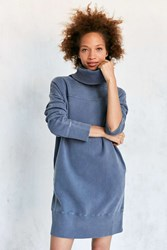Silence And Noise Washed Turtleneck Sweatshirt Mini Dress Blue