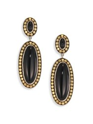 John Hardy Dot Black Onyx And 18K Bonded Yellow Gold Oval Drop Earrings Black Gold