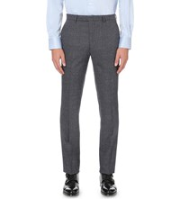 Hardy Amies Heddon Fit Straight Stretch Wool Trousers Blue