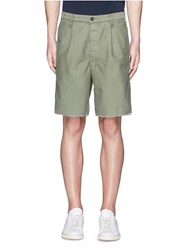 Covert Raw Cuff Cotton Bermuda Shorts Green