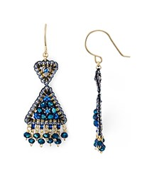 Miguel Ases Beaded Triangle Drop Earrings Blue