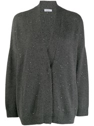 Brunello Cucinelli Sequin Embroidered Cardigan Grey