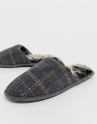 Totes Check Mule Slipper In Grey