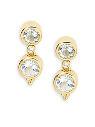 Temple St. Clair Faceted Aquamarine Diamond And 18K Yellow Gold Double Drop Earrings