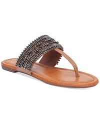 Jessica Simpson Rollison Beaded Flat Sandals Women's Shoes Burnt Umber