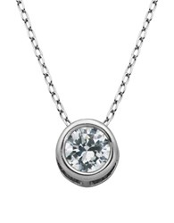 Lord And Taylor Cubic Zirconia Bezel Pendant Necklace Silver
