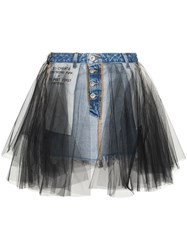 Unravel Project Denim And Tulle Mini Skirt Blue