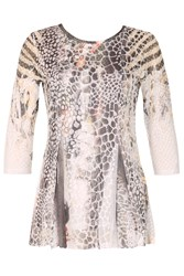 Izabel London Snake Effect Print Top Chocolate