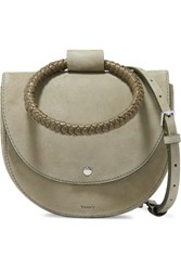 Theory Whitney Small Braided Leather And Suede Shoulder Bag Army Green Gbp