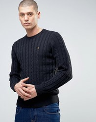 Farah Norfork Cable Knit Crew Neck Jumper Bk Black