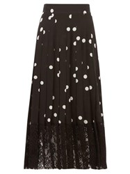 Dolce And Gabbana Lace Trimmed Polka Dot Pleated Silk Blend Skirt Black White