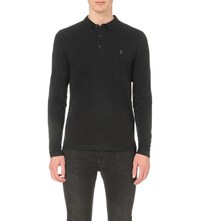 Allsaints Reform Cotton Pique Polo Shirt Black